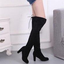 새로운 여성 부츠 하이힐 플러스 벨벳 따뜻한 무릎 긴 튜브 겨울 여성 부츠 패션 캐주얼 여성 신발을 타고