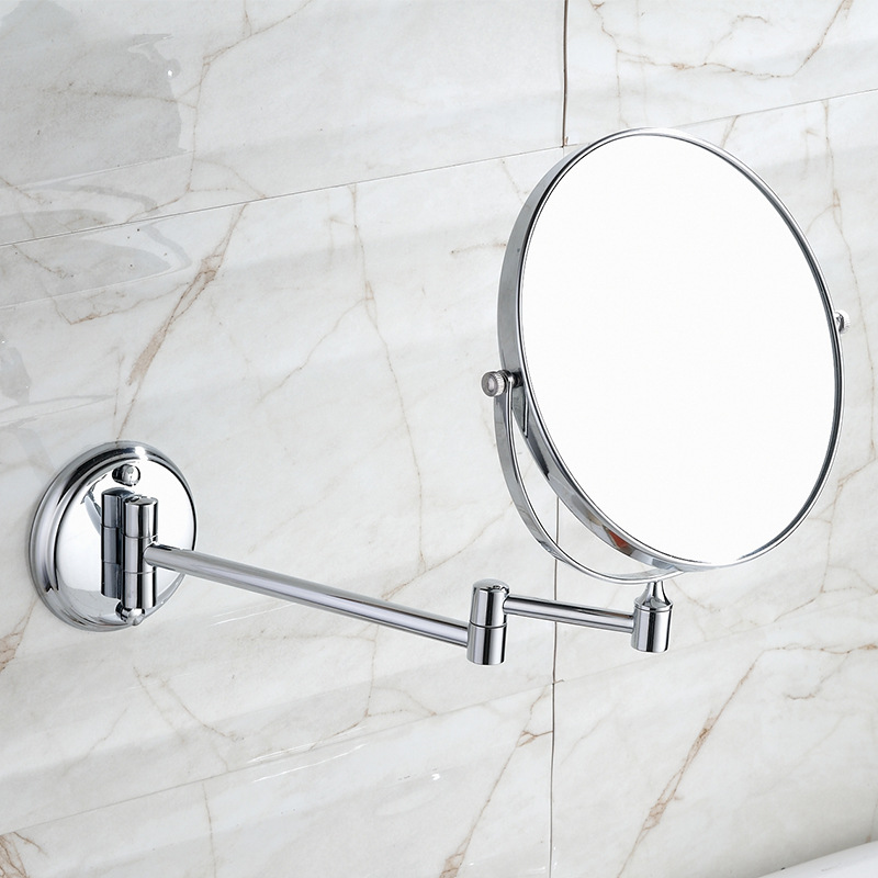 Vidric Wall-mounted Bath Lyle 8 Inch Cosmetic Telescopic Folding Mirror Enlarged Wall-sided Copper Wall Stickers