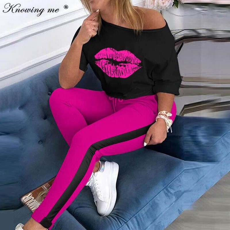 Women Boat Anchor Print Tracksuit Sets Lady 2020 Summer Sexy Off Shoulder 2pcs Set Elegant Blouse+Elastic Waist Long Pants Sets