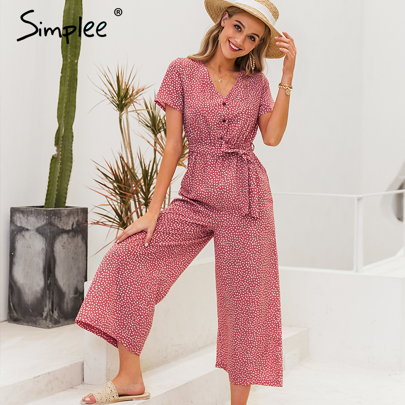 Simplee Boho Polka Dot Women Jumpsuits V Neck Short Sleeve Sashes Female Jumpsuit Romper Buttons Summer Holiday Beach Overalls