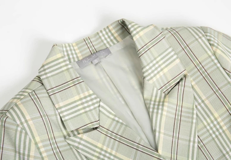 Casual women's jacket suit 2019 autumn new double-breasted plaid ladies blazer Slim office jacket Fashion women's suit