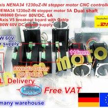4 оси набор контроллеров CNC Nema 34 1230Oz-in/5.0A шаговый двигатель двойной вал и драйвер 6A/80VDC 256 для фрезерного станка с ЧПУ