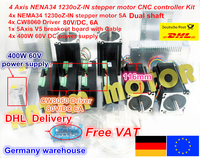 4 Axis CNC controller kit Nema 34 1230Oz in/5.0A Stepper Motor Dual shaft & Driver 6A/80VDC 256 for CNC Router Milling Machine