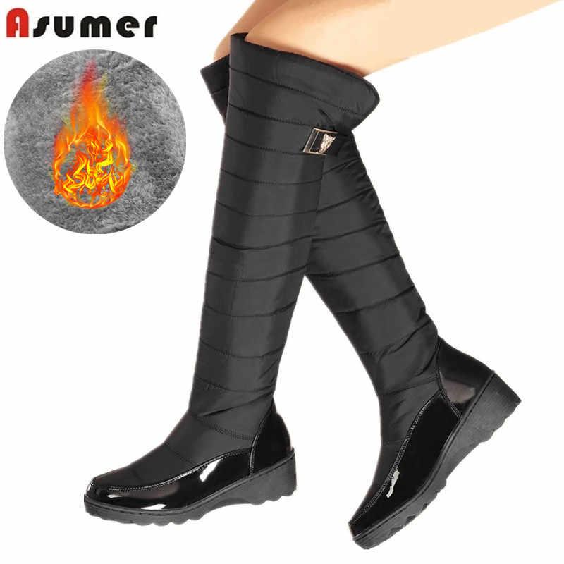 Women Boots Over Knee High Heel Winter Slip-on Leisure Faux Suede Tassel Shoes N