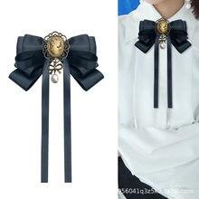 I-remiel – broche noire avec nœud papillon pour femme, accessoire rétro Style collège britannique pour col de chemise