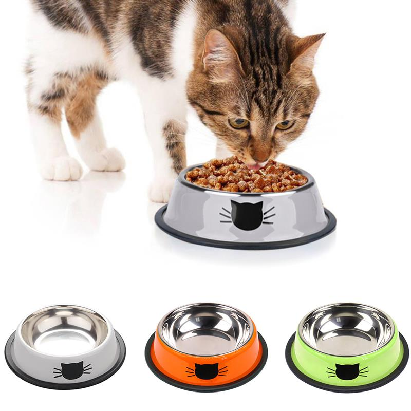 1PCS New Dog Cat Bowls Stainless Steel Travel Car Face Feeding Feeder Water Bowl For Pet Dog Cats Puppy Outdoor Food Dish