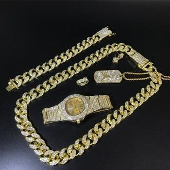 Luxury Men Gold Watch Hip Hop Men Cuban Necklace & Watch & Braclete & Ring & Earrings Combo Set Ice Out Cuban Hip Hop For Men