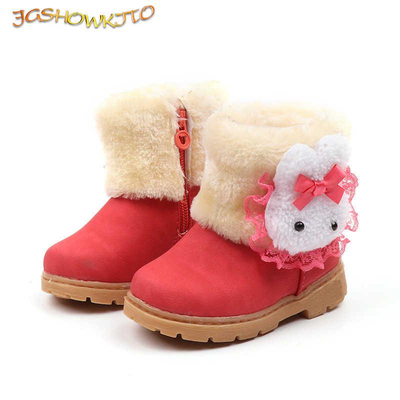 Kids Boots Girls Boots Rabbit Cute Warm Cotton Children Boots Sweet Lace Soft Waterproof Round Toe Boots For Toddlers Girl 21-30