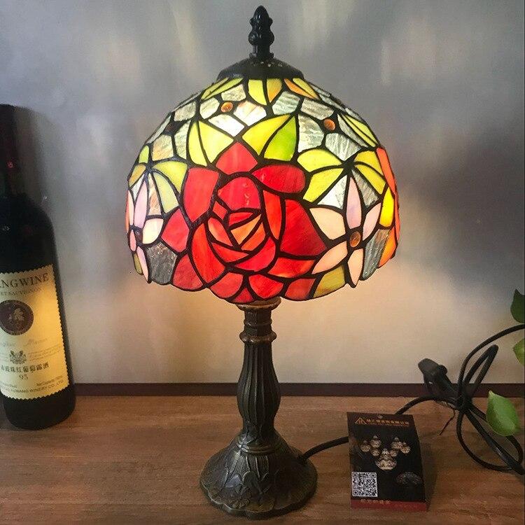 Işıklar ve Aydınlatma'ten LED Masa Lambaları'de 12 inç tiffany masa lambası vitray avrupa barok klasik oturma odası için E27 110 240V title=