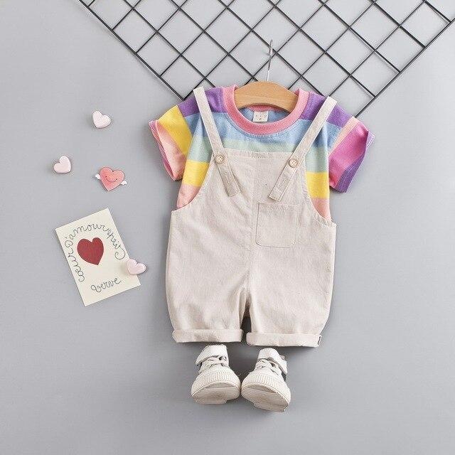 Фото модная одежда для маленьких девочек футболка в цветную полоску цена