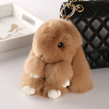 Cute beautiful 14cm rabbit bunny keychain for women bag cars fake fur fluffy unicorn horse Animal ring Pom jewelry