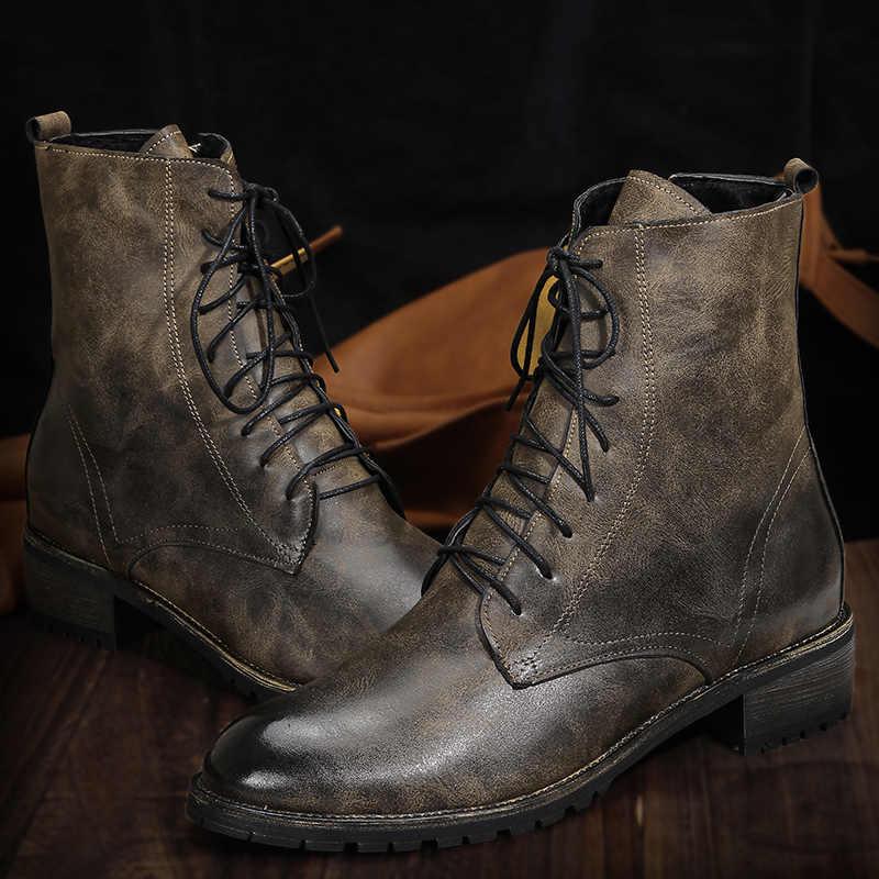 38 ~ 50 erkek botları marka vintage rahat moda yarım çizmeler deri # MLEW81