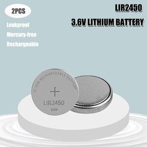 Комплект из 2 предметов 3,6 V LIR2450 Перезаряжаемые батареи 120 мА/ч, 500 раз литиевая Кнопка сотового телефона Батарея заменить CR2450 Высокое качеств...