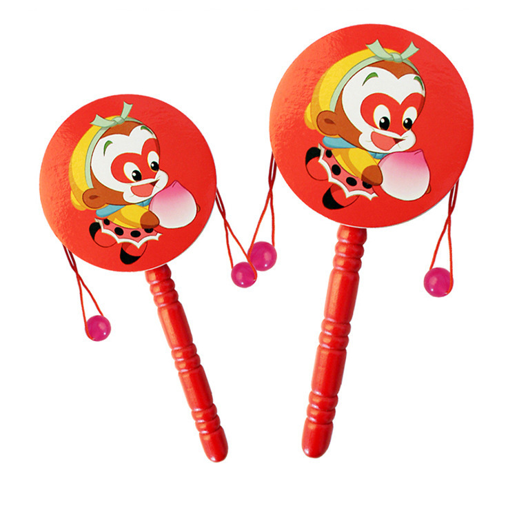 Wood Rattle Aged 1-2 Years 6-12 Month Newborns Baby Toys Baby Shou Yao Gu Retro Traditional Rattle