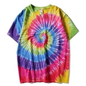Image 2 - Plegie Tie Dye camiseta Unisex 2019 verano Hip Hop cuello redondo hombres irregulares camisetas con patrón 100% camisetas sueltas de algodón