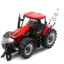 Инерционный трактор из 1:32 сплава для фермера, музыкальный светильник, мини-модель автомобиля из сплава, детская Игрушечная машина, сельскохозяйственное украшение автомобиля