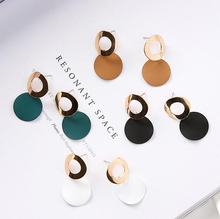 Japanese and Korean Temperament Simple Hollow Ring Piece Earrings Curved Round Geometric Women