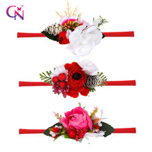 Cn 2020 рождественские повязки на голову с цветами эластичные