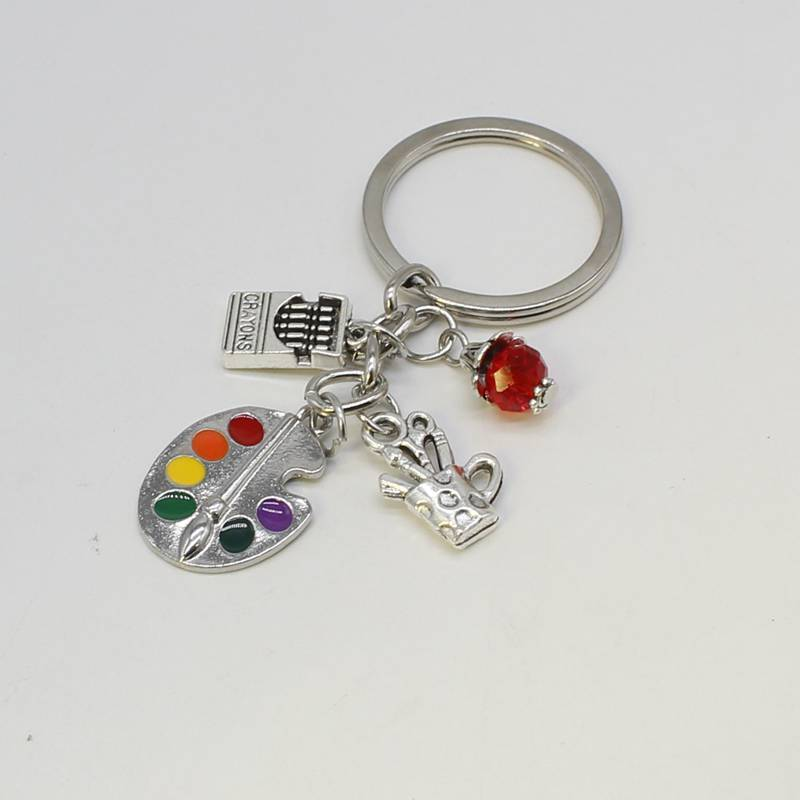 1 Painting Tool - Palette And Beaded Brush Keychain Tibetan Jewelry Silver Amulet Keychain DIY Keychain