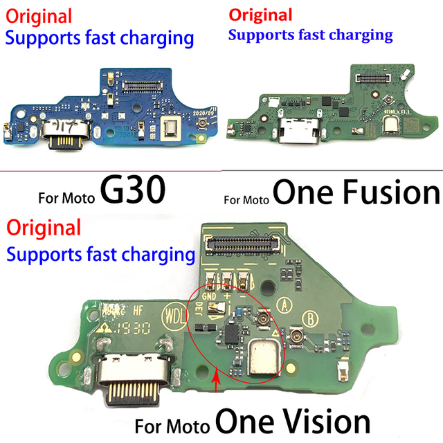 Original New USB Charging Port Connector Board With Mic Microphone For Moto One Vision Fusion Action Marco Hyper Power G30