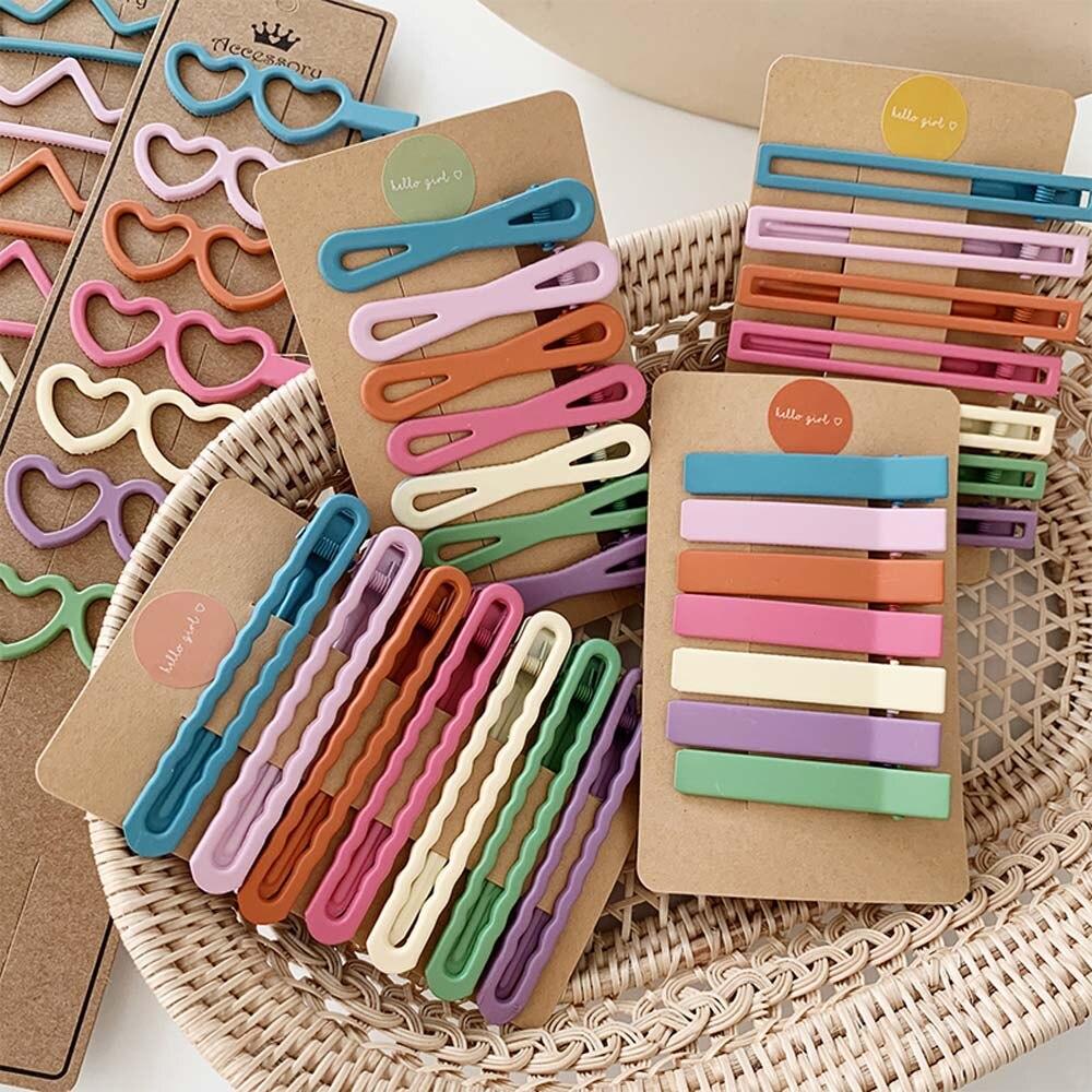 7PCS/set Hair Accessories for Women Girl Korea Square Scrub Matte Colorful Bow Geometric Hair Clip Hollow Barrette Hairpin