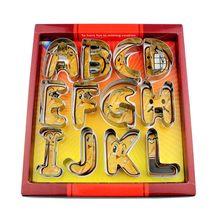 גדול גודל 26 אנגלית אותיות האלפבית קוקי Cutters סט מתנה חבילה פונדנט עוגת עובש נירוסטה DIY ביסקוויט אפיית כלי