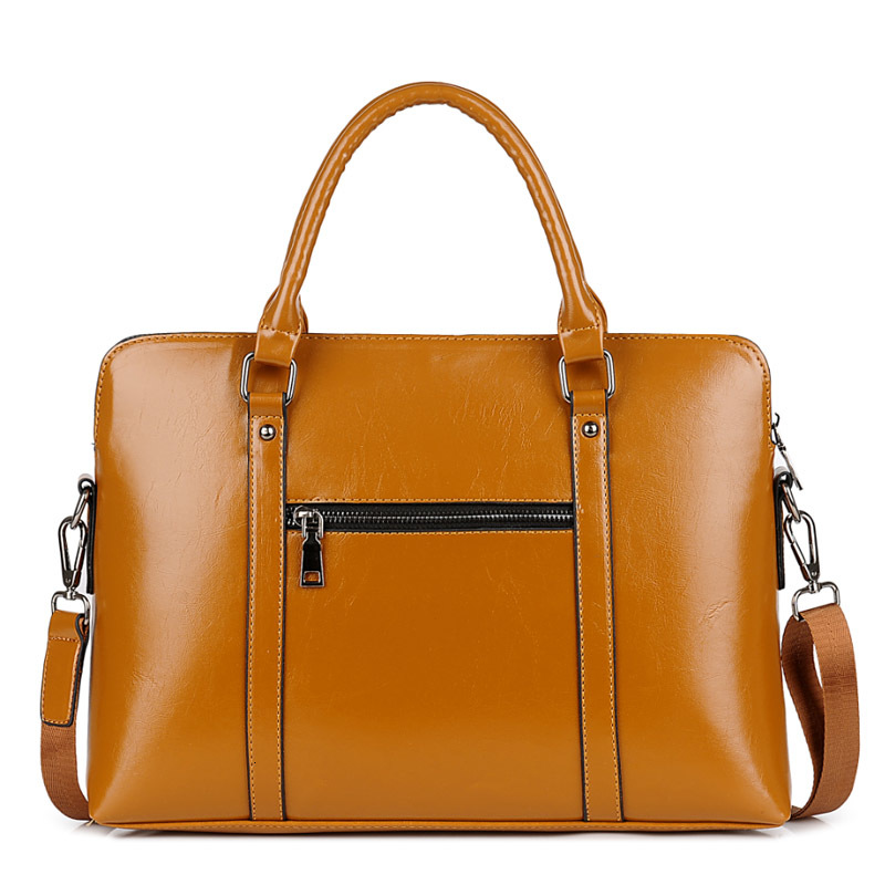 Waterproof Business Briefcase Women Bag For Laptop 13 14 15 PU Leather Office Shoulder Handbag