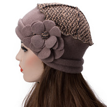 Lawliet Elegant Women Beret Wool Cap Flowers Solid Beanie Female Winter Cap Ladies Warm Crochet Church Hat Mom Gift A125(China)