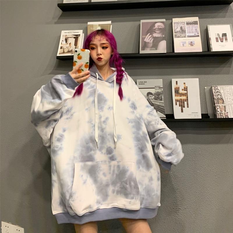 Tie-Dye Sweatshirts For Teenagers Japanese Harajuku Streetwear Clothing Personality Long Sleeve Korean Oversized Hoodie DD2454