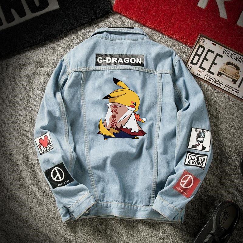 2020 Denim Jacket Men's Spring And Autumn Korean Student Trend Pikachu Denim Men's Autumn Loose Casual Jacket