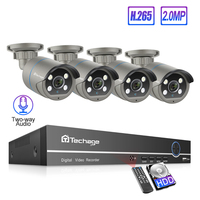 Techage 8CH 1080P POE kamera IP h.265 system nvr 4 sztuk 2MP dwukierunkowe Audio kamera IP wodoodporna CCTV bezpieczeństwo w domu zestaw do nadzorowania w Systemy nadzoru od Bezpieczeństwo i ochrona na