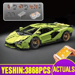 MOC Technic, строительные блоки для автомобилей, совместимые с 42115 Lamborghinis Sian FKP 37, модель автомобиля, сборочные кирпичи, детские рождественские по...