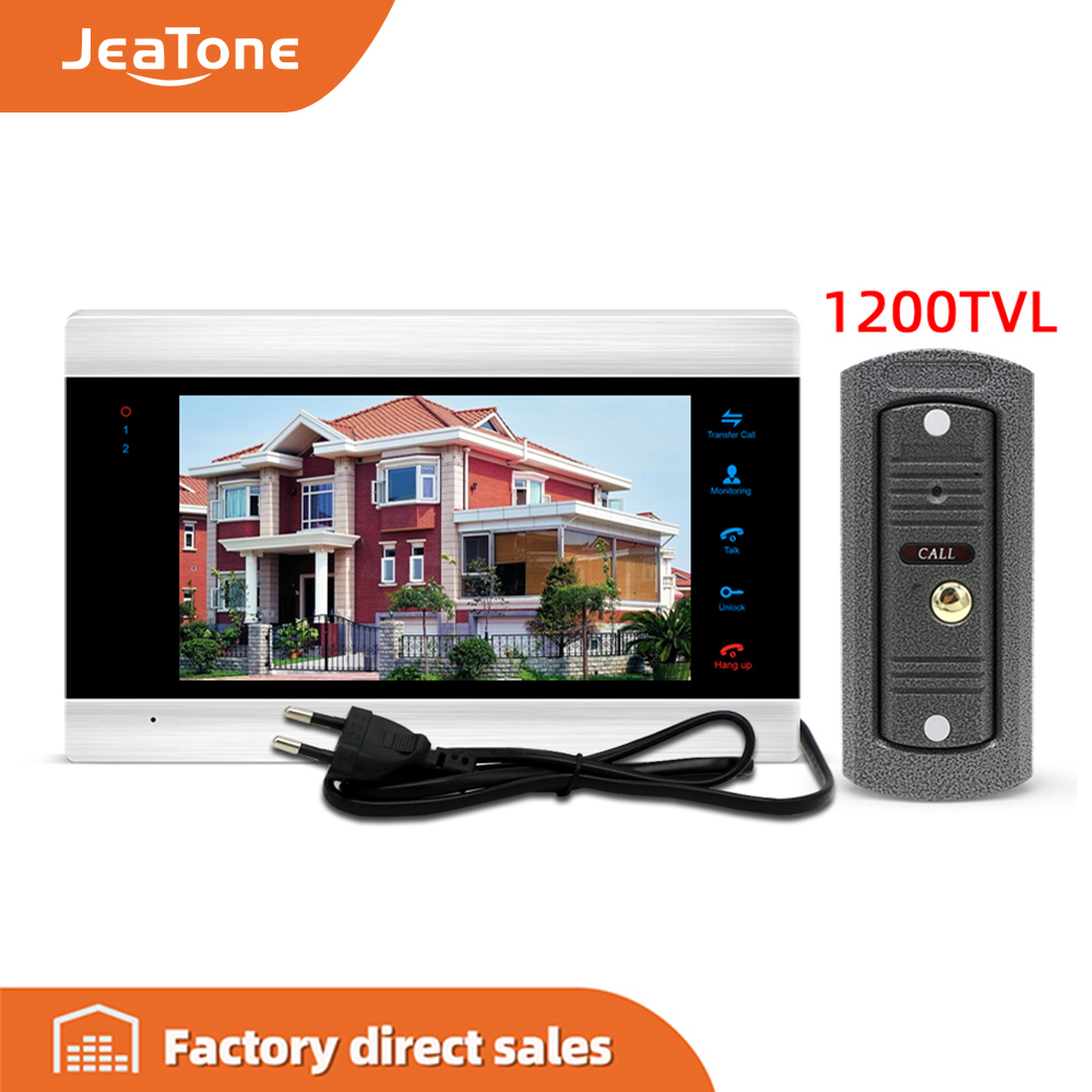 Jeatone7'' 1200TVL Monitor Built-in Power Video Intercom Video Door Phone Camera With Memory Card, Support English/Russian Panel