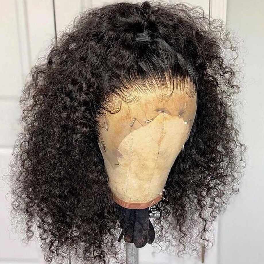 Dentelle avant perruques de cheveux humains Afro crépus bouclés brésiliens remy cheveux 13x6 Bob perruque preplumée avec des cheveux de bébé pour les femmes noires 130% - 5