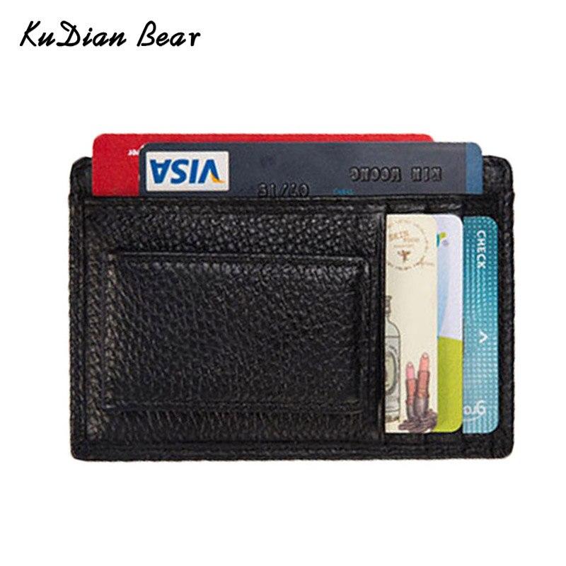 KUDIAN BEAR  Short Men Money Clip Metal Leather Wallet Slim Male Card Case Coin Pocket Slim Clamps For Money BID212 PM49