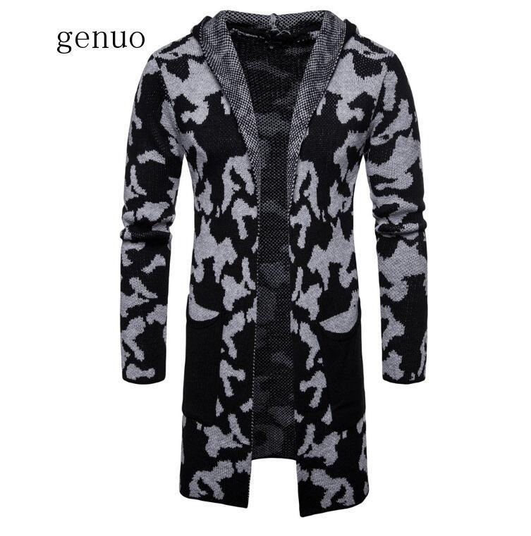 Casual Men Sweater 2019 Fashion Loose Camouflage Cardigan Sweatercoat Slim Knitted Hoodies Men's Hip Hop Streetwear