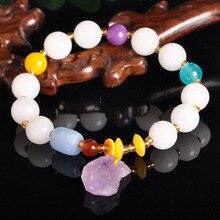 Crystal Jewelry Natural White Jade Bracelet Women Amethyst Original Stone DIY Wholesale