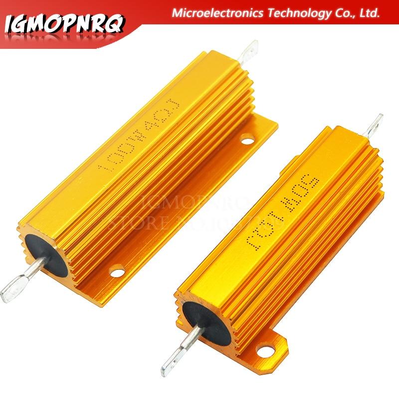 Алюминиевый металлический чехол с проволочным резистором 50 Вт 100 Вт 0,01 ~ 100 к 0,05 0,1 0,5 1 2 6 8 10 20 200 500 1 к 10 к ом