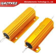 Estojo de metal de alumínio para concha, 50w 100w resistor de retiros resistor 0.01 ~ 100k 0.05 0.1 0.5 1 2 resistência 6 8 10 20 200 500 1k 10k ohm