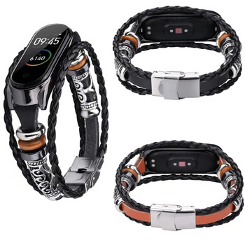 Mi Band 3 4 Wrist Strap Metal Cover For Xiaomi Mi Band 4 3 Genuine Leather Strap Bracelet Miband 4 3 Wristbands Pulseira
