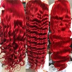 Красные парики из человеческих волос Ambition, парики с глубокой волной, парики на сетке 13 х4, парик на сетке спереди, прозрачный парик из прямых ...