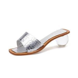 Image 3 - Pzilae 2020 women summer slippers crystal geometric heel black silver sandals square toe ball heel slide sandalias mujer
