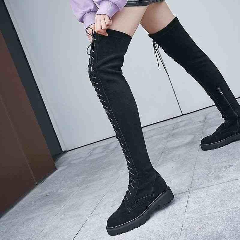 Krazing Pot leisure vintage stretch lange laarzen ronde neus med hakken side Zip vrouwen winter keep warm solid dij hoge laarzen L10