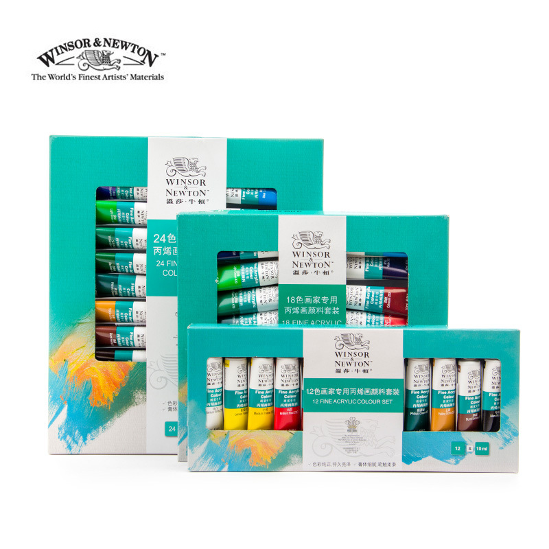 Winsor&Newton 12/18/24Color Professional Acrylic Paint Set For Artist Painter Drawing Painting Art Pigment Supplies
