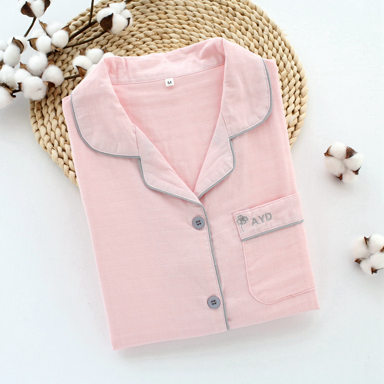 2019 New Style Home Wear Cotton Double Layer Gauze Pajamas Dark Cell Embroidered Japanese-style MUJI-style Pajamas Suit