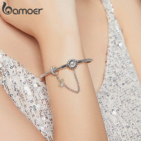 Bamoer authentic 925 sterling silver 3mm snake charm bracelet with sunflower safety chain diy bracelets accessories bsb041