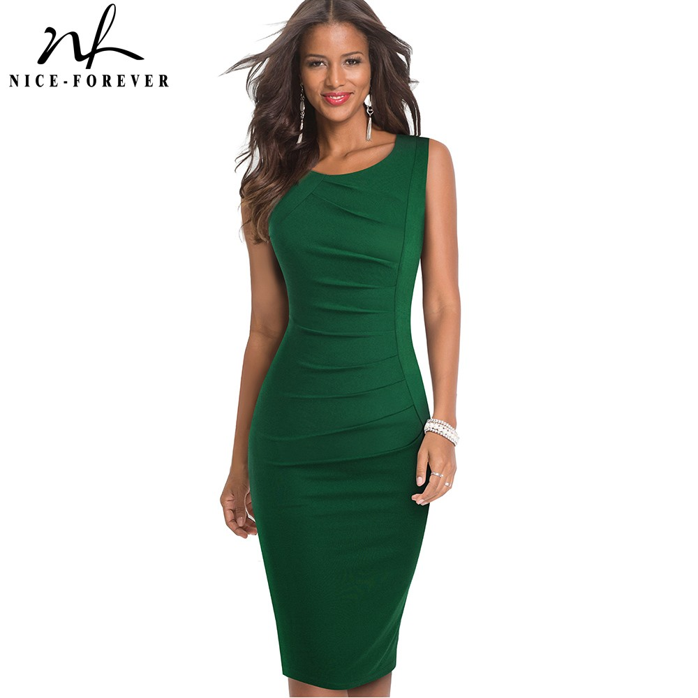 Nice Forever Solid Color Elegant Work Office Dresses Business Formal Party Bodycon