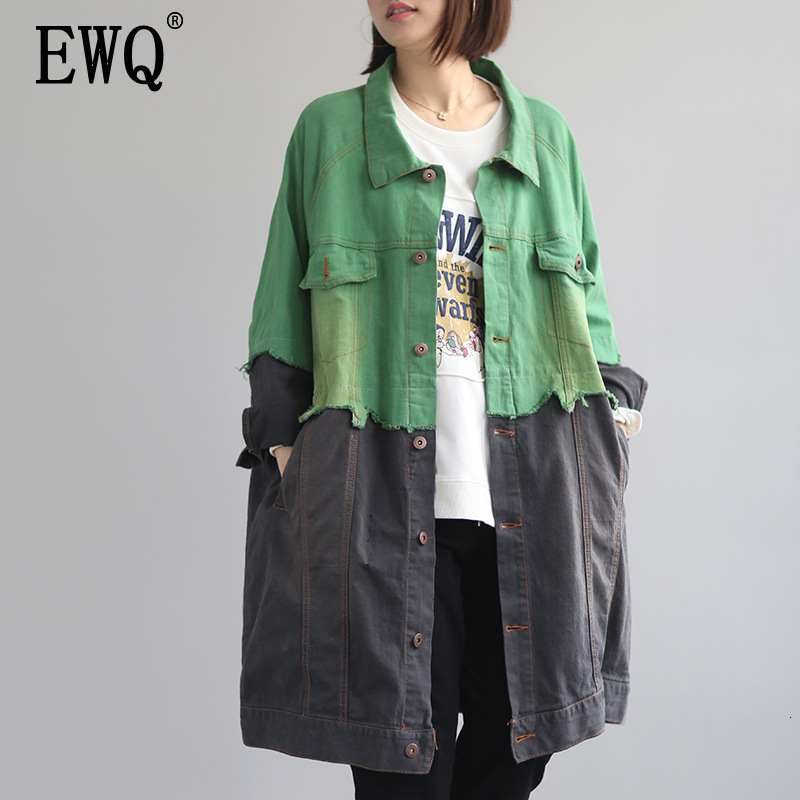 [EWQ] 2019 Spring Autumn Lapel Long Sleeve Hit Colors Single Breasted Vintage Loose Windbreaker Female Jacket Women AH17906