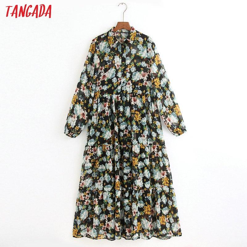 Tangada Fashion Women Flowers Print Long Dress Turn Down Collar Long Sleeve Ladies Chiffon Dress Vestidos 6Z27