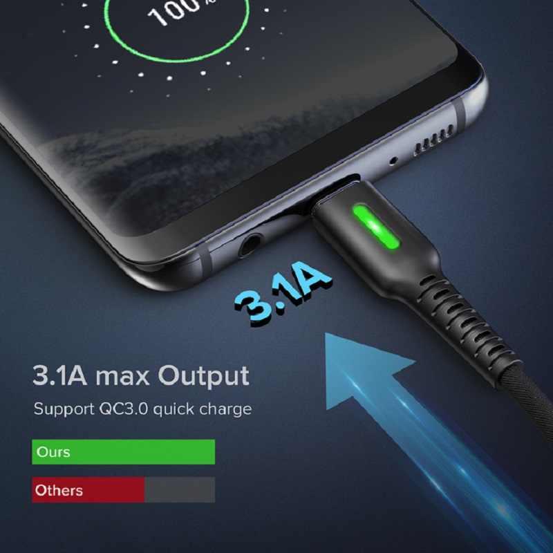 INIU 3.1A Micro USB tipo C Cable LED Android cargador de teléfono móvil carga rápida Micro USB Cable de datos para Xiaomi Samsung S10 S7